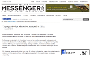 Top College Counselor, Evelyn Jerome-Alexander, Admitted to IECA