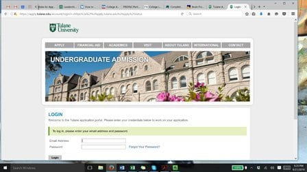 Tulane's Application Portal