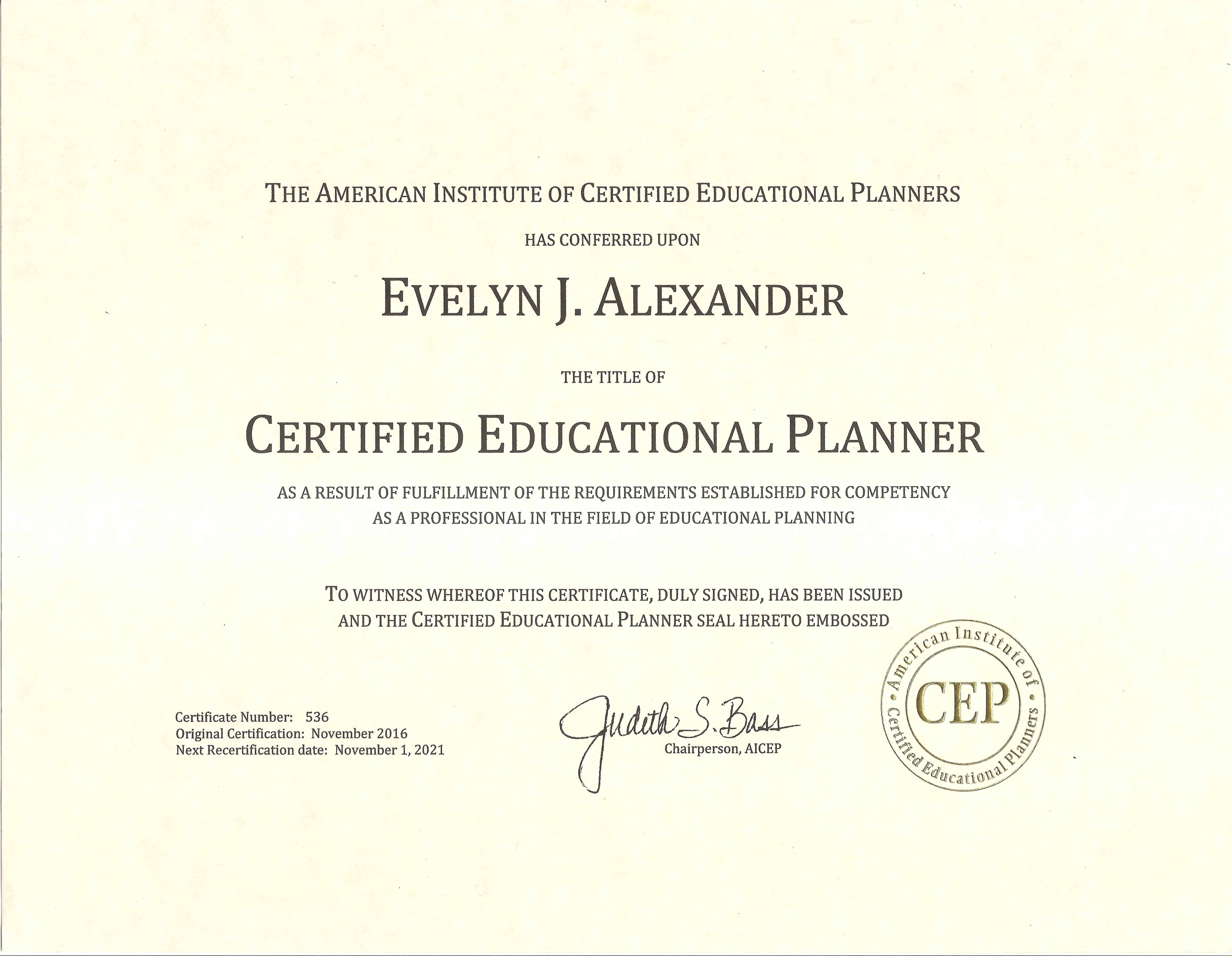 Evelyn Cep Certificate Magellan College Counseling