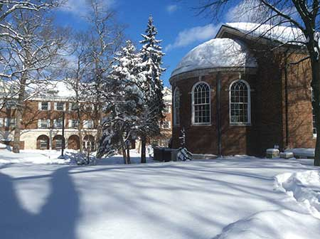 Kalamazoo College Covered in Snow