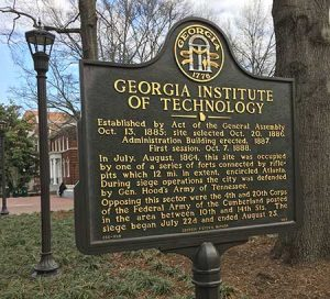 Sign of Founding of Georgia Institute of Technology (Georgia Tech)